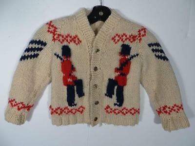 Vintage Heavy Wool Knit Curling Sweater Soldiers Motif Kids Size Very Cute