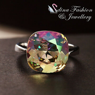 18K White Gold Plated Made With Swarovski Crystal Cushion Cut Colourful Ring