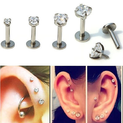 Surgical Steel Lip Nose Helix Rhinestone Stud Ring Bar Pin Piercing Earring Gift