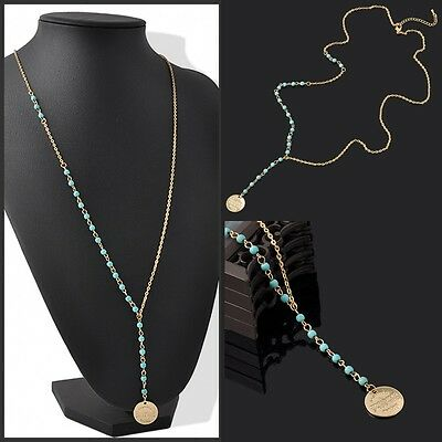 Vintage Fashion Womens Turquoise Beads Pendant Long Chain Charms Necklace Gift