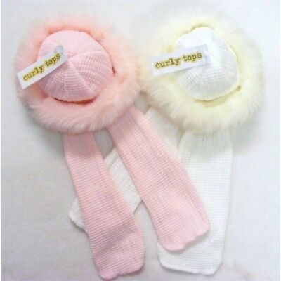 Baby Girl Knitted Winter Russian Hat Fur Trim/Attached Scarf/White/Pink/3M-24M
