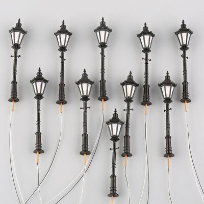 10pcs O Scale 1:50 Model Railway LED Lamppost Lamps Antique Street Lights 3V