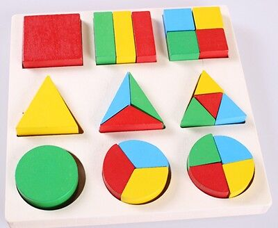 Wooden geometry Fraction shape educational puzzle Montessori early learning Toy