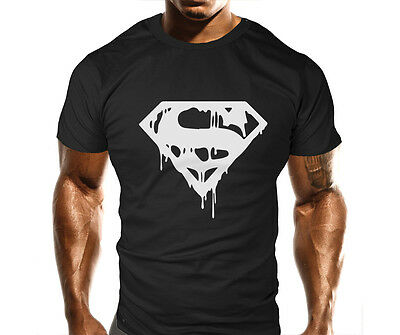 Mens Gym Workout MMA T-Shirt Bodybuilding Loose Fit Casual Top Gift Super Man
