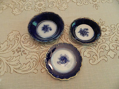 """Flow Blue Royal Staffordshire 5 3/4"""" Plate 6 1/4"""" Bowl and 5 1/4"""" Bowl Rose"""