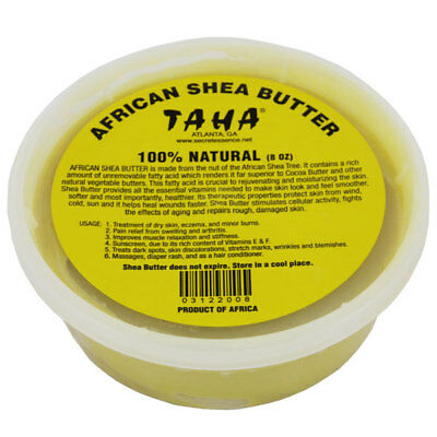 TAHA African Shea Butter 100% Natural For Dry Skin, Eczema And Minor Burns 5 OZ