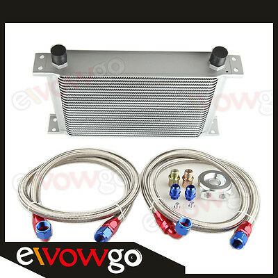 25-Row Aluminum An10 Engine Oil Cooler+Relocation Kit+2 X Ss Braided Lines