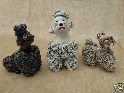 3  VINTAGE SPAGHETTI POODLE DOG FIGURINE PLAYFUL Q260 Gray Black White