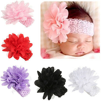 Infant Kid Girl Baby Headband Toddler Lace Bow Flower Hair Band Headwear Pink