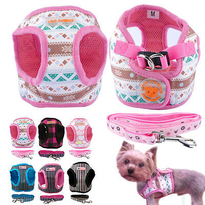 Soft Fabric Small Pet Dog Vest Harness and Lead Set with Clip for Dogs S M L XL