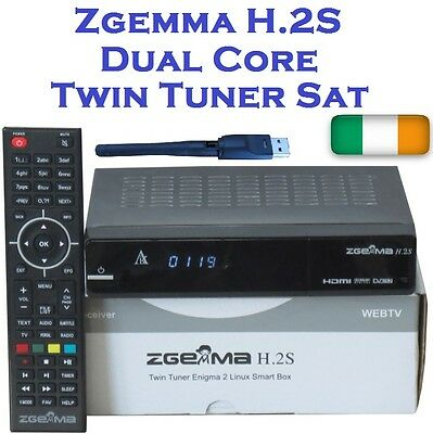 Genuine Zgemma H.2S Dual Core Receiver Twin Sat Tuner With USB WiFi , IRL Stock!