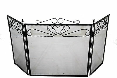 Black Fire Screen Fireguard Folding 3 Panel Protector Fireplace Victorian Style