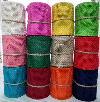 Natural Jute Hessian Burlap Ribbon Rustic Weddings Belt Strap Craft many Colors