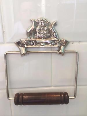 Vintage Australian Style Shiny Pewter Brass Toilet Loo Roll Holder Wc Bathroom