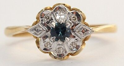 18ct Yellow Gold Sapphire and Diamond Cluster Ring Size N 1/2