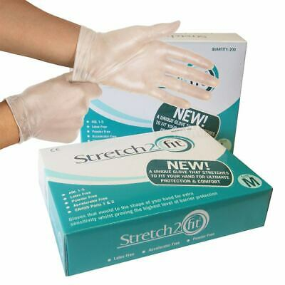Stretch 2 Fit Clear Disposable Gloves - Medium - Box of 200