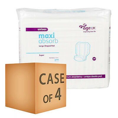 Case Saver 4 x Age UK Large Shaped Pads - Super (2740ml) Pack of 20