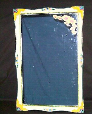 Vtg Medicine Cabinet Shabby Chic Metal Resin Hand Painted Floral Unique Mirror