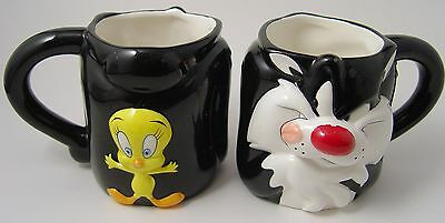 2 Warner Brother Mugs Sylvester and Tweety Cartoon Coffee Cup