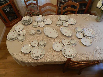 Meito China Rose Chintz Service for 6  w/4 Serving Pieces