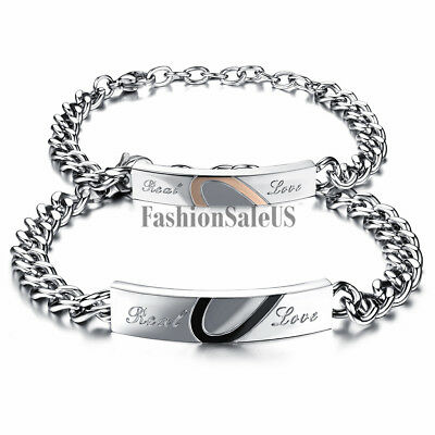 Real Love Puzzle Heart Couples Men Women Stainless Steel Bracelet Valentine Gift