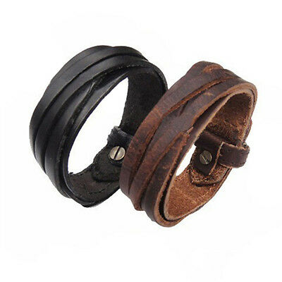 Genuine Leather Bracelet Wristband Jewelry Men Women Unisex Multi Thong Braided