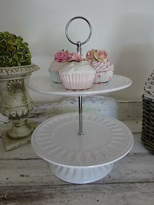 Porcelain 2 tier cake stand cup cake plates ribbed design footed ceramic