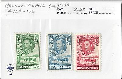 Bechuanaland Protectorate 1938 MLH #124-126 Now Botswana