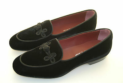 Man - Slipper - Pantofola - Black Velvet - Velluto Nero - Leather Sole