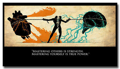 """Mastering Yourself - Motivational Quotes Art Silk Fabric Poster 13x24"""""""