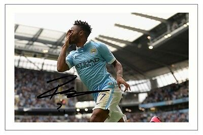 Raheem Sterling Manchester City Soccer Signed Autograph Photo Print  Soccer