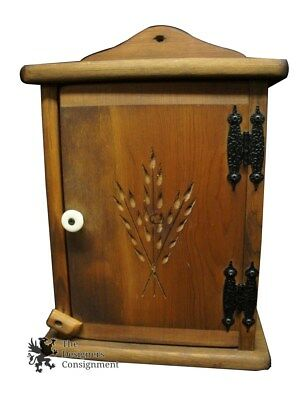 """Arts Crafts Hanging Spice Rack Cabinet Oak Carved Wheat Early American Style 16"""""""