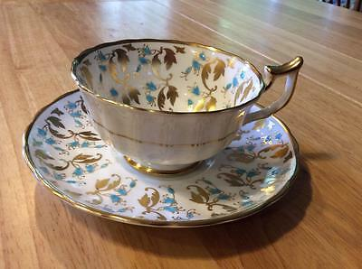 Gorgeous Hand Painted Royal Chelsea Gold and Blue Cup and Saucer, Intricate