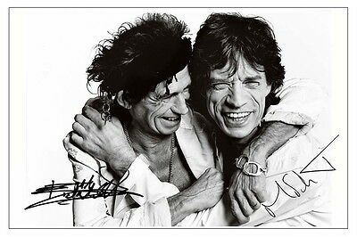 Mick Jagger & Keith Richards Signed Photo Print Autograph The Rolling Stones