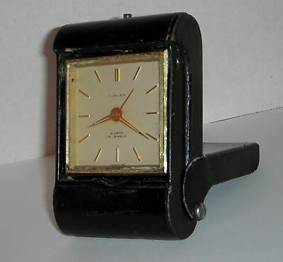 Vintage Turler Fold-Over 8 Day 15 Jewels Imhof Swiss Alarm Clock Travel Working
