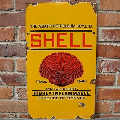 SHELL PETROLEUM MOTOR SPIRIT enamel sign oil vitreous advertising NOS VAC160