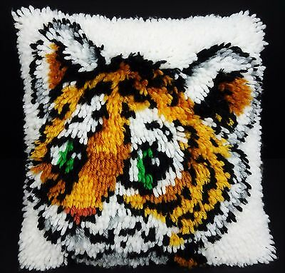 Baby Tiger Cub Completed Latch Hook Decor Throw Pillow