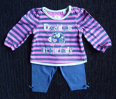 Baby clothes GIRL newborn 0-1m outfit stripe applique top long sleeve/leggings