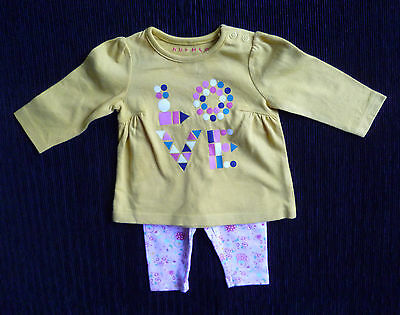 """Baby clothes GIRL 0-3m outfit Nutmeg yellow """"love"""" long sleeve top/pink leggings"""