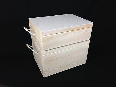 Storage Wooden Pine Box Crate Container Tool Chest with Rope Handles Gift Box