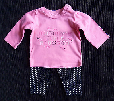 Baby clothes GIRL 0-3m outfit bright pink long sleeve top/black/white leggings
