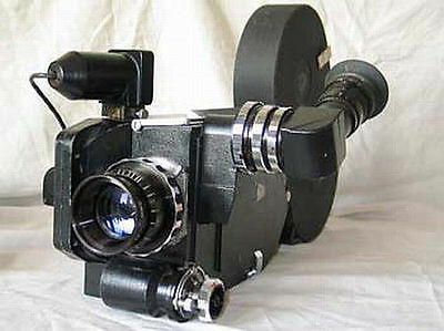 Russian 35mm high speed movie camera Temp motor 3 cassettes lens Konvas Kinor