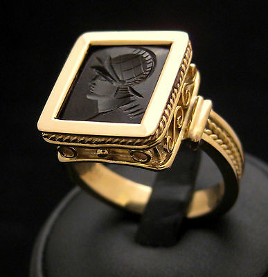 Handmade Signet Ring 18Kt Solid Gold Ancient Greek Representation By Joller