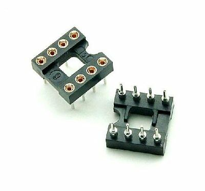 100pcs 8Pin DIP SIP Round IC Sockets Adaptor Solder Type gold plated machined