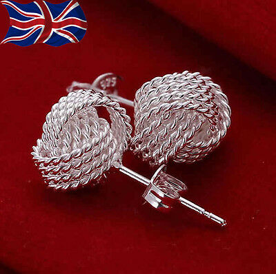 925 Sterling Silver Knot Earrings Twisted Knot Studs Butterfly Back Gift Bag UK