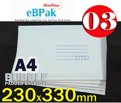 200 #03 - NEW - Bubble Mailer 230x330mm A4 Size White Padded Bag Envelope