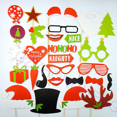 28PCS Christmas Photo Booth Props Mustache On A Stick Wedding Birthday Party