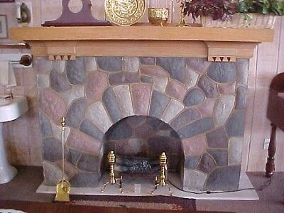 Antique Faux Stone Fireplace With Mantel