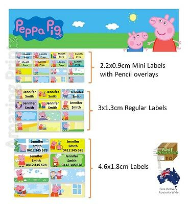 Peppa Pig Vinyl Personalised Name Label Sticker school book pencil texta tag kid
