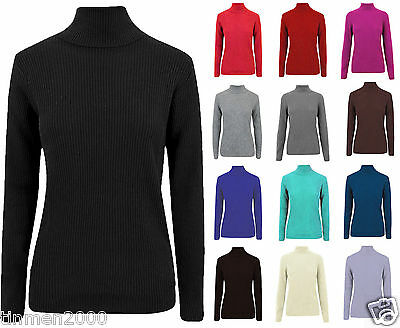 Ladies Long Sleeve Polo High Turtle Neck Top Ribbed Stretchy Shirt Top Plus Size